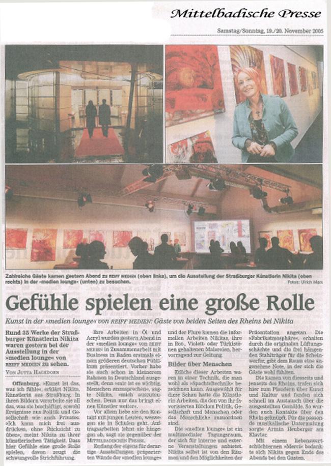 Article paru dans Mittel Badische Presse